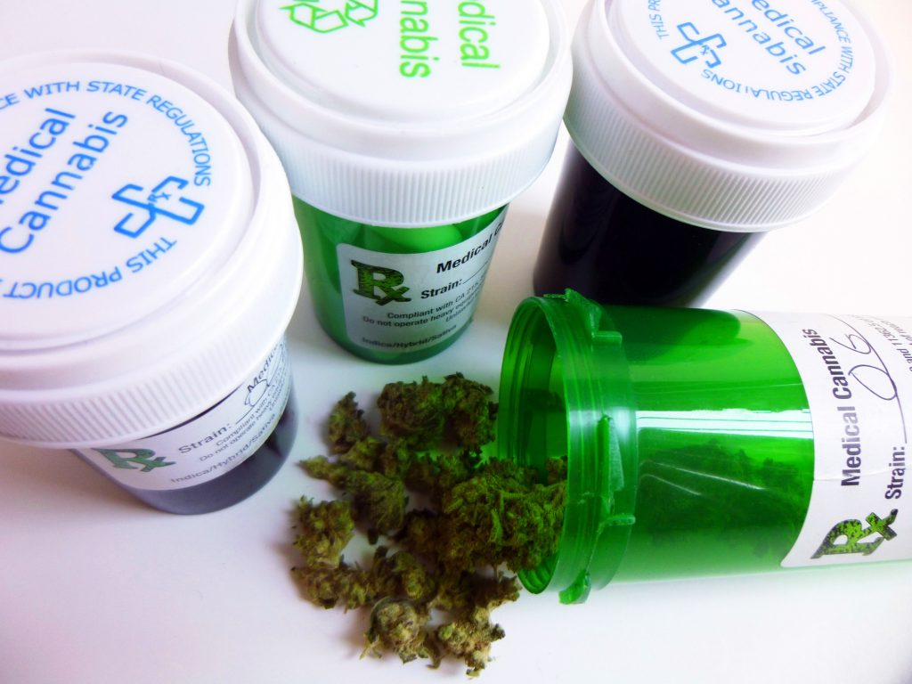 medical cannabis in containers