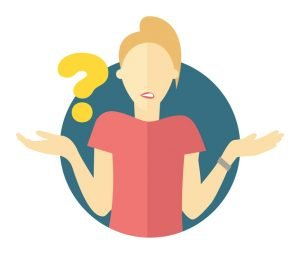 woman shrugging with a question mark